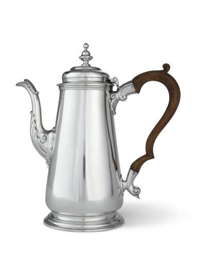 View 1. Thumbnail of Lot 403. An American Silver Coffee Pot, Samuel Casey, South Kingstown, RI, circa 1755-60.
