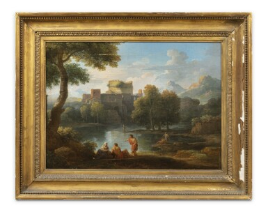 View 4. Thumbnail of Lot 161. A classical landscape with the Tomb of Cecilia Metella and figures conversing;  A classical landscape with a capriccio of the Vatican Belvedere and figures conversing in the foreground.