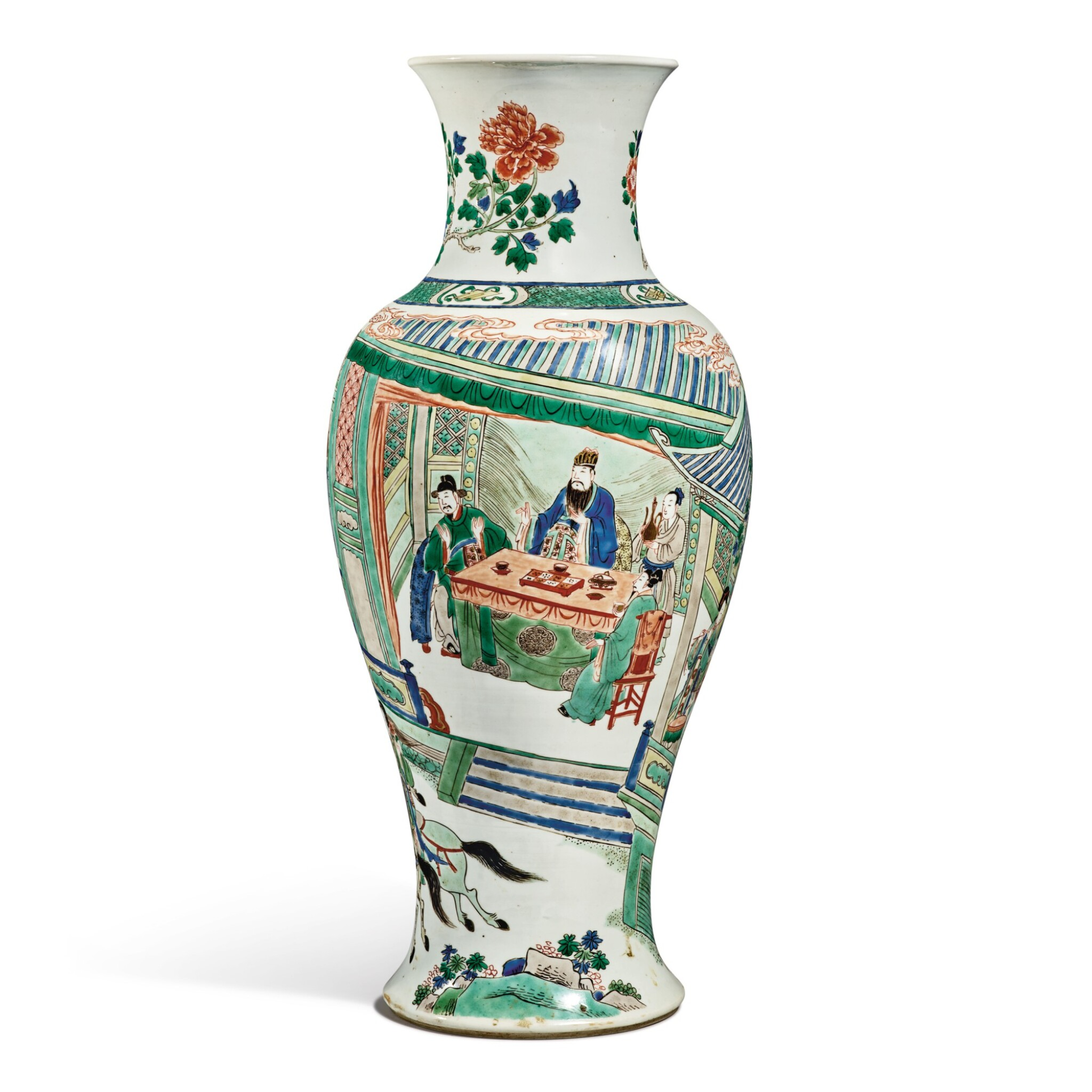 View full screen - View 1 of Lot 141. A famille-verte baluster vase, Qing dynasty, Kangxi period | 清康熙 五彩人物故事圖瓶.