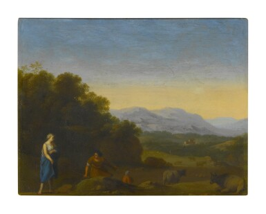 View 1. Thumbnail of Lot 52. Sold Without Reserve | CIRCLE OF CORNELIS VAN POELENBURGH | ROLLING LANDSCAPE WITH SHEPHERDS AND CATTLE.