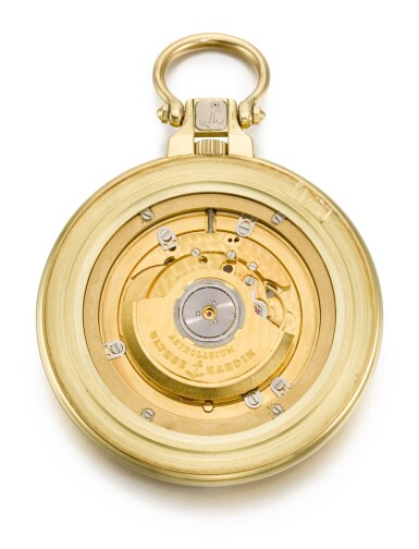 View 3. Thumbnail of Lot 613. A RARE TWO-COLOUR GOLD AUTOMATIC ASTRONOMICAL OPEN-FACED KEYLESS LEVER WATCH WITH MONTH AND ASTROLABIC INDICATIONS CIRCA 1987, ASTROLABIUM GALILEO GALILEI, REF. 941-22, NO. 001 [ 雅典941-22 型號ASTROLABIUM GALILEO GALILEI 罕有雙色金自動上鏈天文懷錶備月份顯示及星盤,年份約1987,編號001].