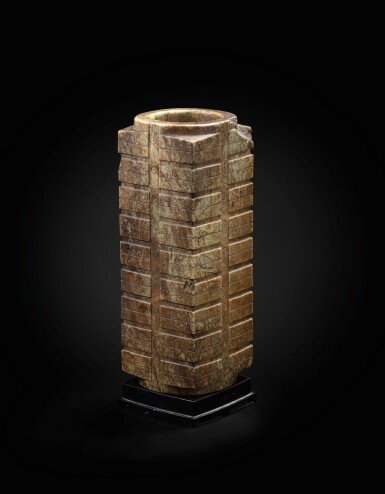 View 3. Thumbnail of Lot 29. A large mottled brown jade nine-tier archaistic cong Ming dynasty or earlier   明或更早期 青玉琮.