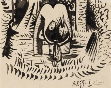 View 1. Thumbnail of Lot 64. Étude pour la baigneuse du déjeuner sur l'herbe (Manet).