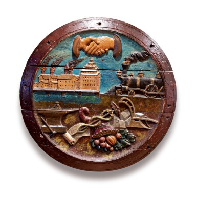 FINE AND RARE CARVED AND POLYCHROME PAINT-DECORATED WOOD BUFFALO INSURANCE COMPANY PLAQUE, NEW YORK STATE, LATE 19TH CENTURY