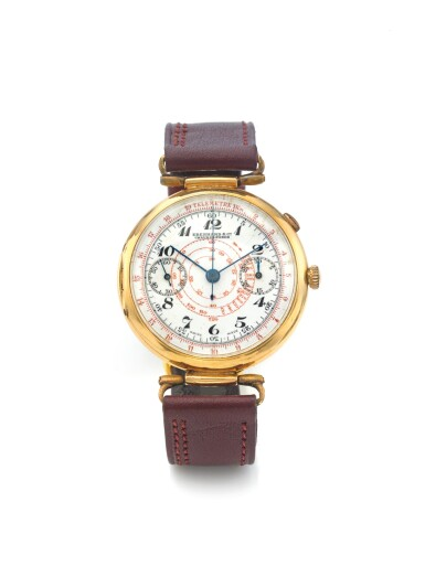 EBERHARD | A YELLOW GOLD MONO PUSHER CHRONOGRAPH WRISTWATCH WITH REGISTERS AND SNAIL TACHOMETER SCALE CIRCA 1940