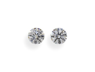 A Pair of 0.56 and 0.55 Carat Round Diamonds, F Color, VS1 and VS2 Clarity