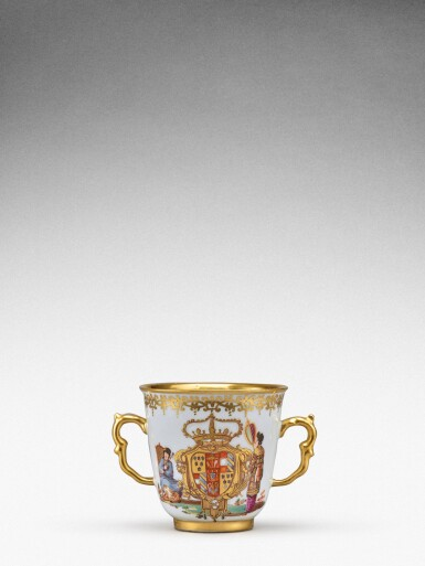 View 3. Thumbnail of Lot 92. An extremely rare Meissen armorial two-handled beaker from the service made for Elizabeth Farnese, Queen of Spain, Circa 1737 .