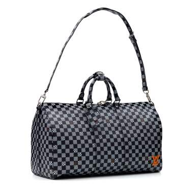 View 2. Thumbnail of Lot 337. Black Distorted Damier Keepall Bandouliere 50cm in Coated Canvas and Cowhide Leather with Palladium Tone Hardware, 2020.
