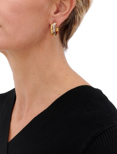 View 4. Thumbnail of Lot 100. CARTIER   PAIR OF THREE- COLOR GOLD EARRINGS   (PAIO DI ORECCHINI IN ORO TRICOLORE) .