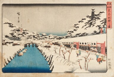 View 1. Thumbnail of Lot 270. Ando Hiroshige Japon | 日本 歌川広重 《東海道五拾三次之内・沼津・黄昏圖》、 《江都名所・御殿山遊興》、 《東都名所・芝赤羽根之雪》 | Ando Hiroshige, three prints from various series: Numazu (Numazu, tasogare zu) from the series Fifty-three Stations of the Tokaido, ca. 1833-1834 ; Snow at Akabane Bridge in Shiba, from the series Famous Places of the Eastern Capital, ca. 1837; Cherry blossoms at Goten-yama, from the series Famous Places in Edo, ca. 132-1834.