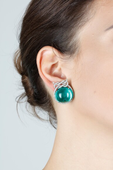 View 4. Thumbnail of Lot 16. VERDURA   PAIR OF EMERALD AND DIAMOND EAR CLIPS.