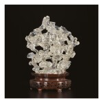 A ROCK CRYSTAL 'LONGEVITY' DOUBLE-VASE GROUP, QING DYNASTY, 19TH CENTURY