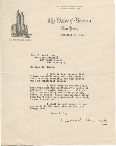 """View 1. Thumbnail of Lot 39. Winston S. Churchill   Typed letter signed (""""Winston Churchill"""") to Than von Ranck, 24 December 1931."""