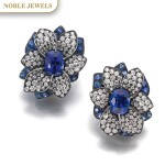 HEMMERLE | PAIR OF SAPPHIRE AND DIAMOND EAR CLIPS