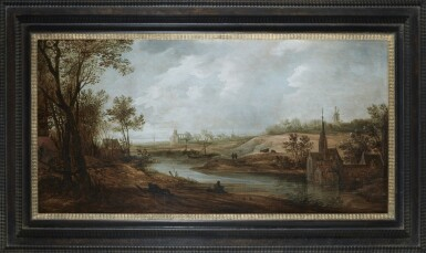 View 2. Thumbnail of Lot 232. FRANS DE MOMPER | WIDE RIVER LANDSCAPE WITH A CHURCH, A WINDMILL AND A MONASTERY, WITH FIGURES RESTING ON A BANK AND FISHING.