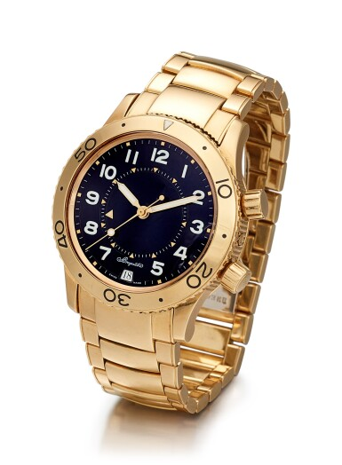 BREGUET   TYPE XX, REFERENCE 3860 A YELLOW GOLD WRISTWATCH WITH DATE, ALARM AND BRACELET, CIRCA 2000