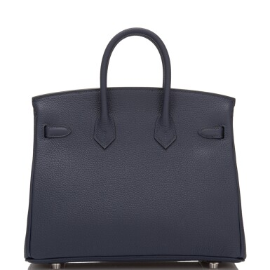 View 4. Thumbnail of Lot 4. Hermès Bleu Nuit Birkin 25cm of Togo Leather with Palladium Hardware.