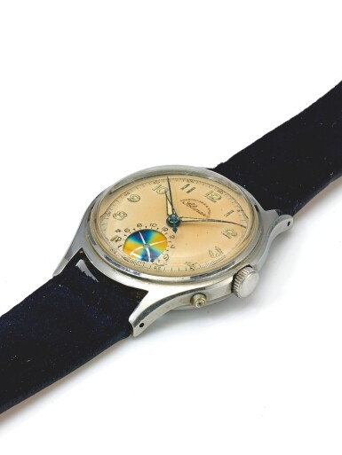 HEUER | SOLUNAR, RETAILED BY ABERCROMBIE & FITCH: A STAINLESS STEEL CENTER SECONDS WRISTWATCH WITH TIDE INDICATOR CIRCA 1950