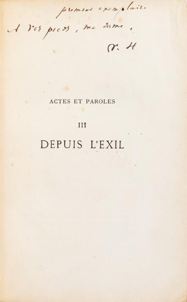 """View 3. Thumbnail of Lot 120. Actes et Paroles. 1875-1876. 3 vol, chacun avec un envoi à Juliette Drouet, """"la première""""."""