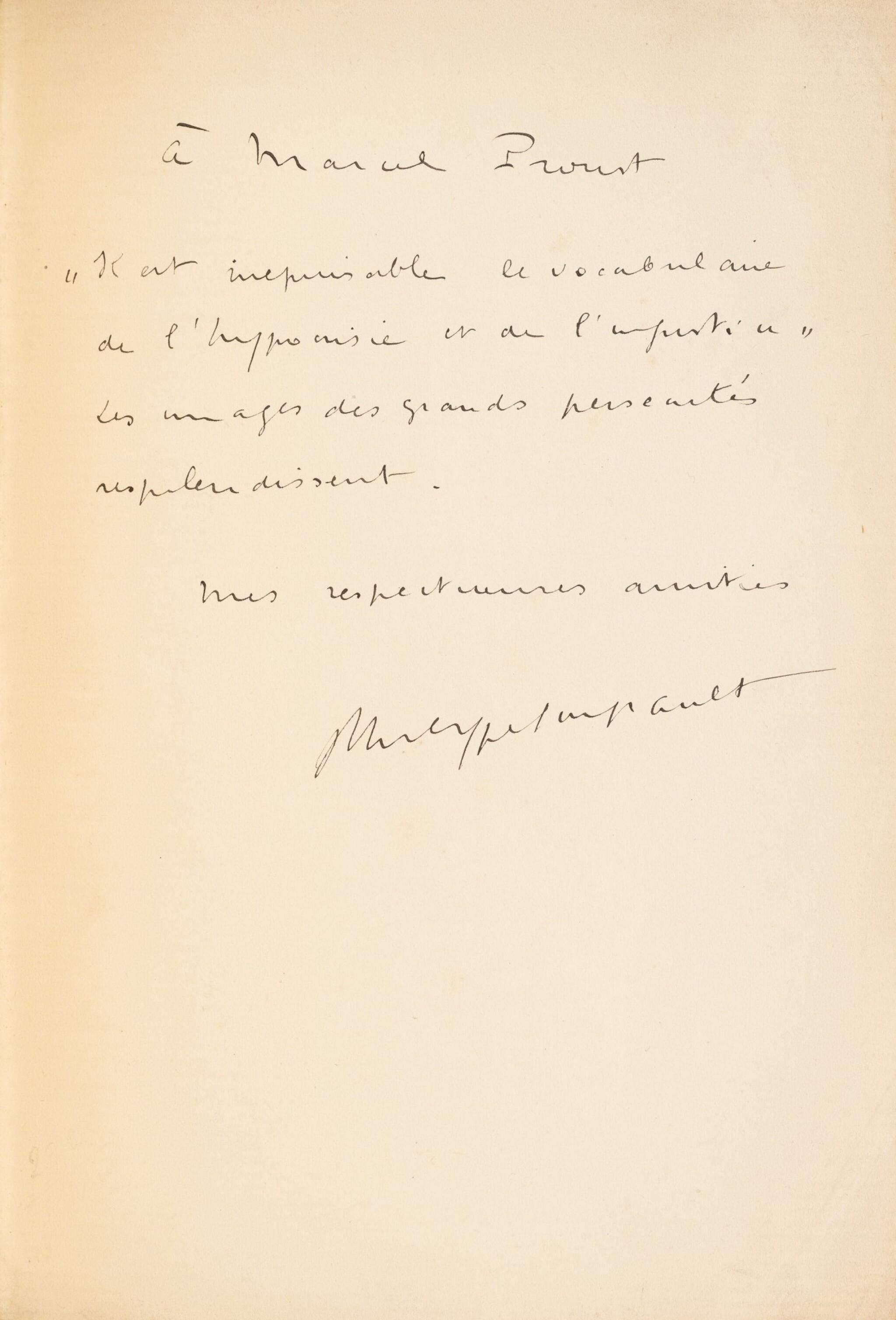 View full screen - View 1 of Lot 177. Westwego. Poèmes. 1922. Rel. Jean de Gonet. Exemplaire de Marcel PROUST, avec envoi.