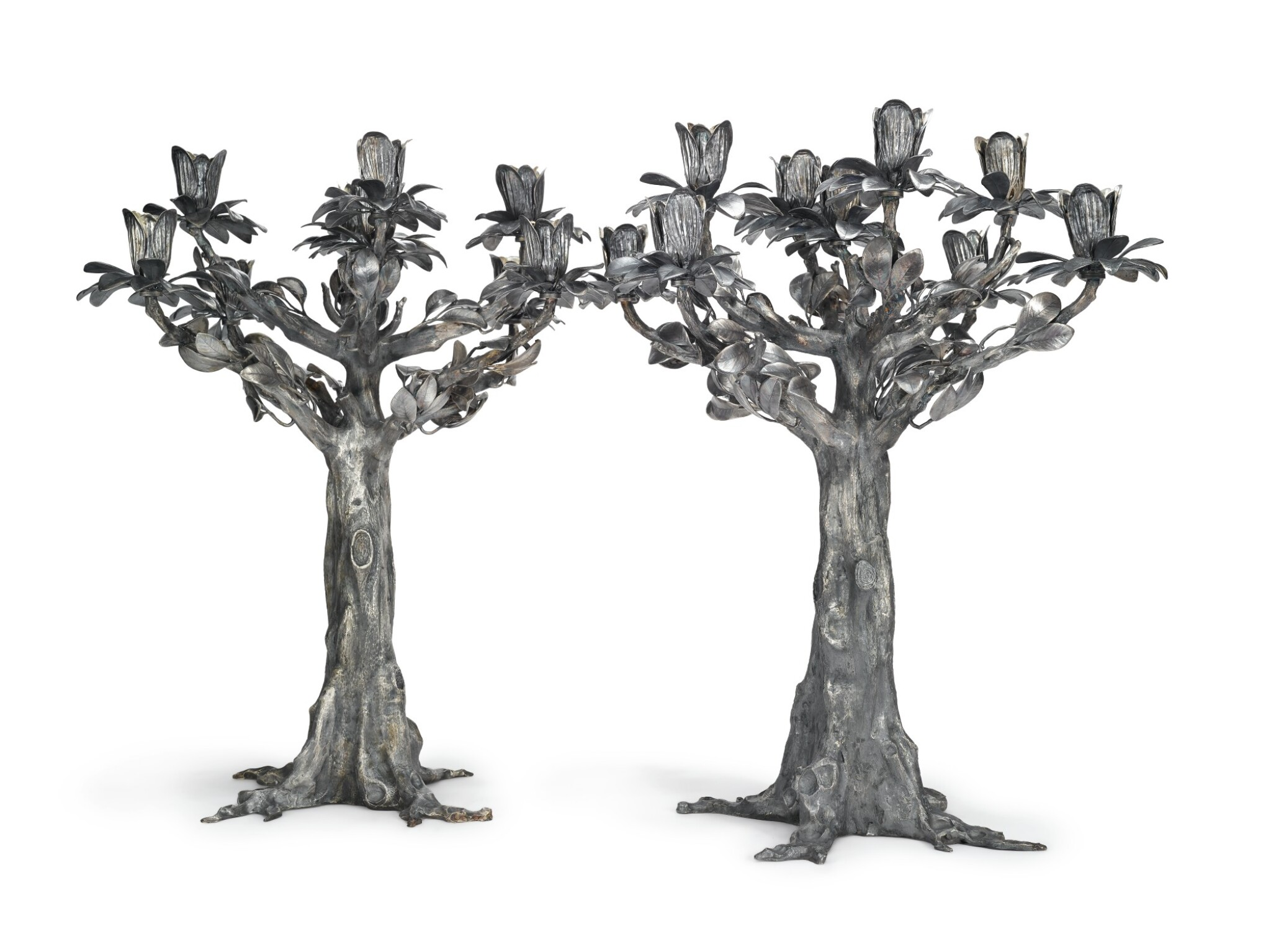 View full screen - View 1 of Lot 417. A PAIR OF MASSIVE ITALIAN SILVER TREE-FORM NINE-LIGHT CANDELABRA, EUGENIO STANCAMPIANO, PALERMO, LATE 20TH CENTURY.