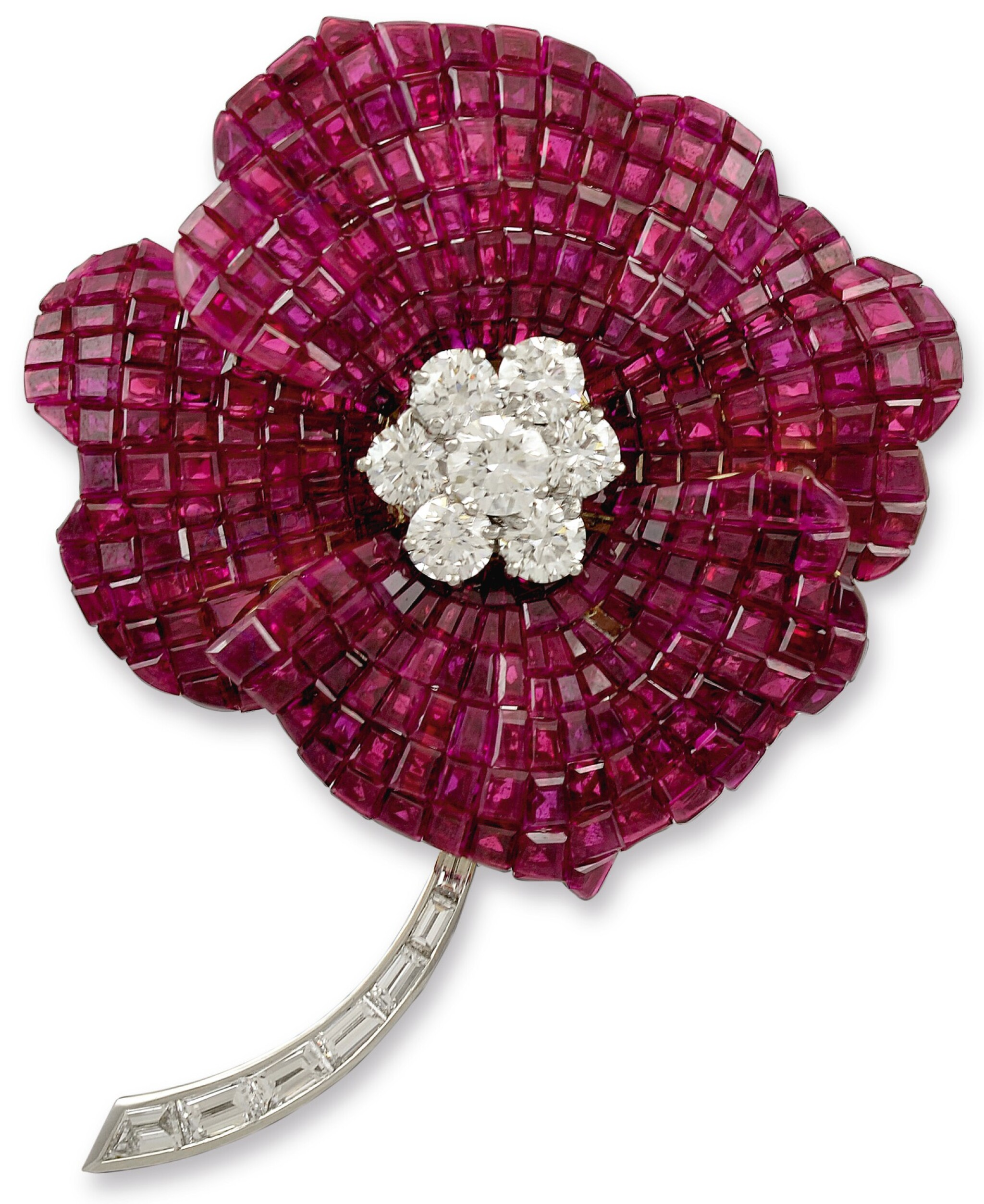 View full screen - View 1 of Lot 49. OSCAR HEYMAN & BROTHERS | RUBY AND DIAMOND BROOCH.