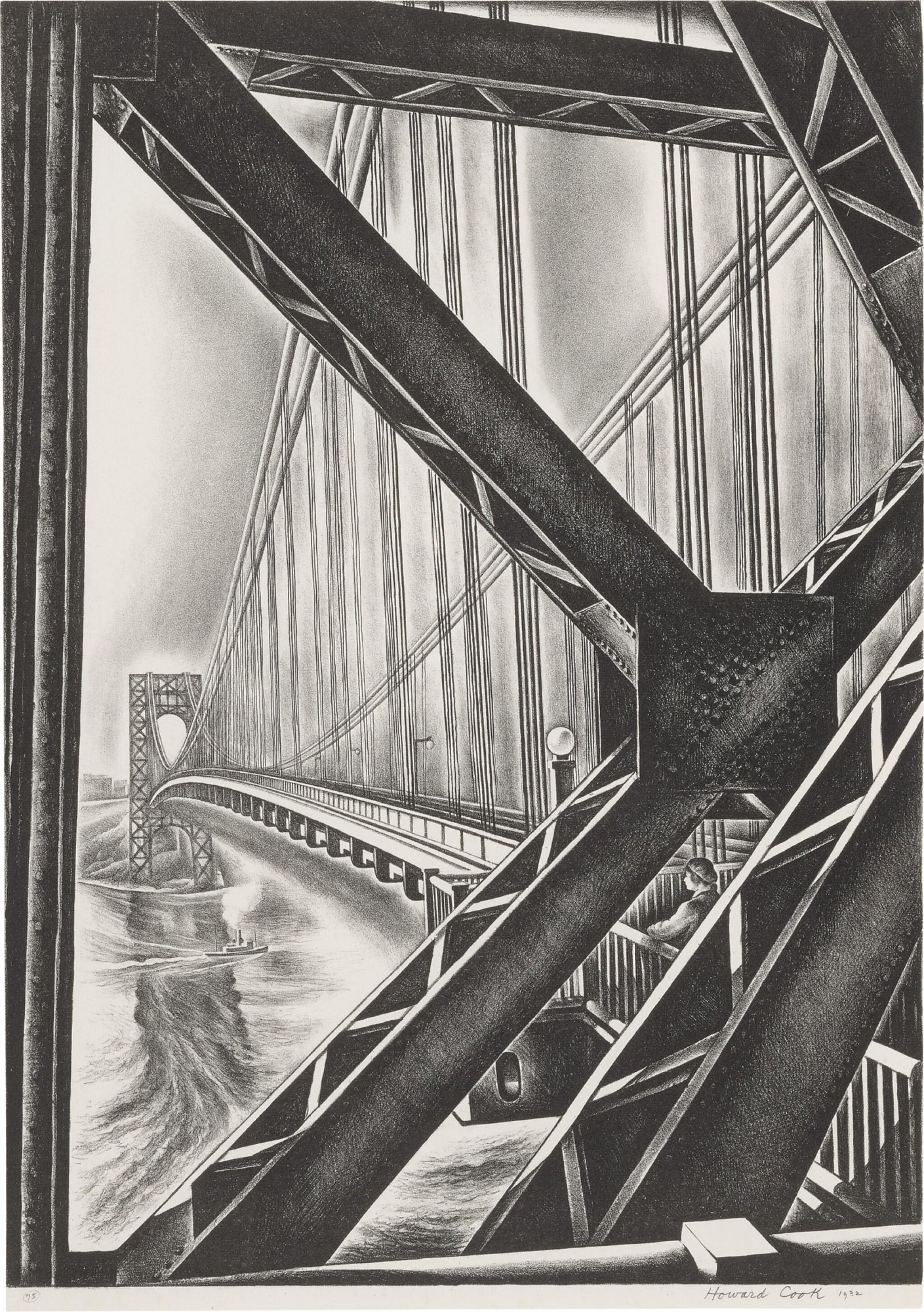 "View full screen - View 1 of Lot 38. George Washington Bridge with ""B"" (Duffy 156)."