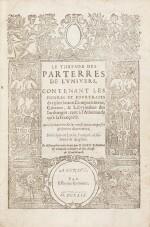 Le Thresor des parterres de l'univers. Genève, 1629. In-4. Reliure de Bruyère. Seule et unique édition.
