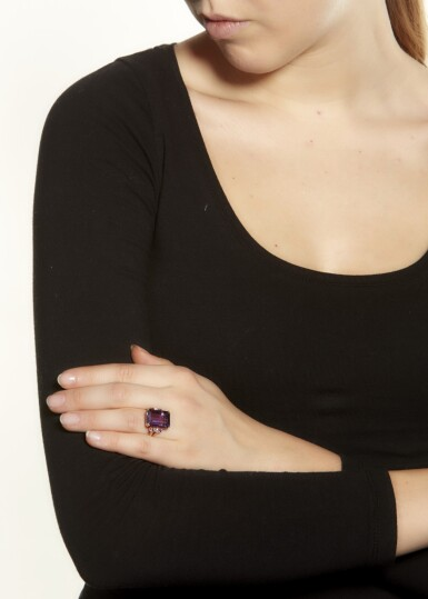 View 4. Thumbnail of Lot 10. AMETHYST AND DIAMOND RING.