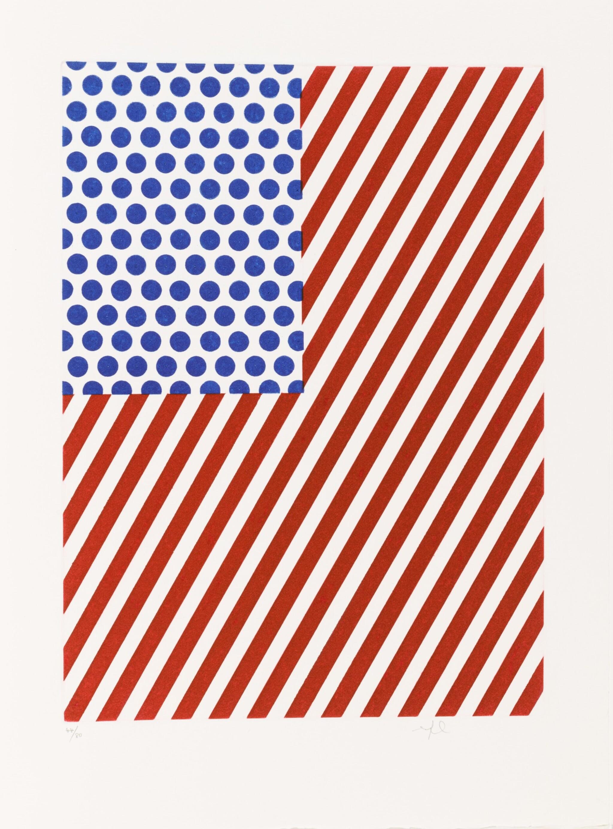 View full screen - View 1 of Lot 145. La Nouvelle chute de l'Amérique. 1/80 ex. 10 eaux-fortes et aquatintes signées de Lichtenstein.