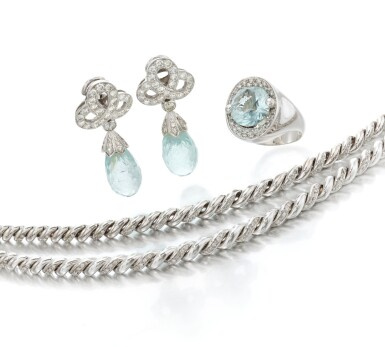 View 1. Thumbnail of Lot 135. Pair of diamond bracelets and aquamarine and diamond demi-parure (Coppia di bracciali in diamanti e demi-parure con acquamarine e diamanti).
