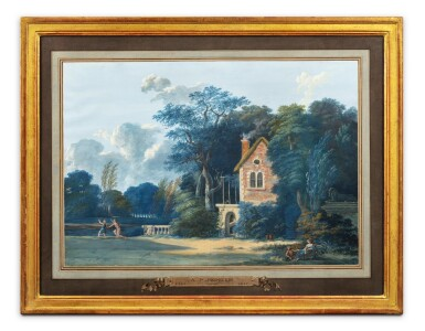 View 2. Thumbnail of Lot 196. Pastoral landscape with thermal baths;  Pastoral landscape with a child shooting an arrow.