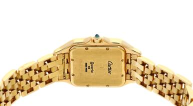 View 5. Thumbnail of Lot 21. Panthère  A yellow gold square shaped wristwatch with date and bracelet, Circa 1995 .