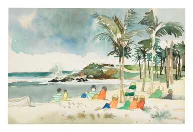 DONG KINGMAN | UNTITLED (FIGURES ON A BEACH)