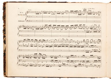 View 1. Thumbnail of Lot 36. J. S. Bach. Three first and early editions of music for organ, bound in one volume, 1831-1834.