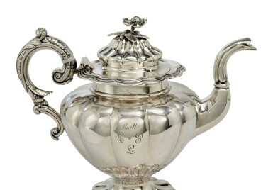 View 3. Thumbnail of Lot 412. A Rare American Southern Silver Six-Piece Tea Set, S&B Brower, New Orleans, 1834-1842.