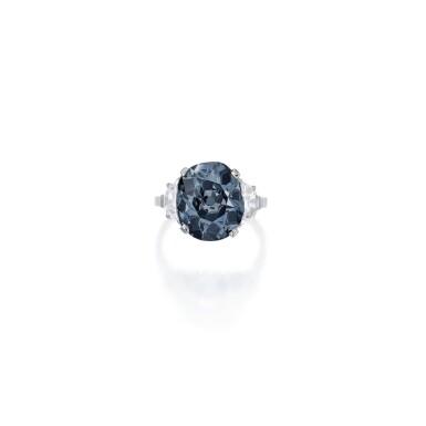 'THE INDIAN BLUE,' AN ENCHANTING FANCY DEEP GRAYISH BLUE DIAMOND AND DIAMOND RING | 深彩灰藍色鑽石配鑽石戒指