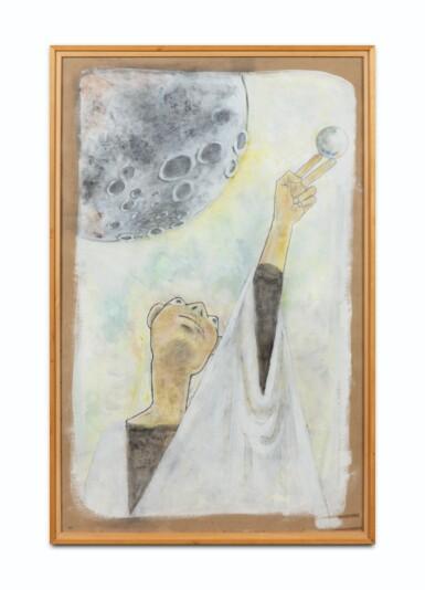 """View 2. Thumbnail of Lot 33. JEAN COCTEAU. Astrologue II. 1954. Technique mixte sur carton fort, signée """"Jean Cocteau"""" et datée 1954 en bas à droite.."""