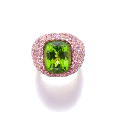 View 1. Thumbnail of Lot 6. MICHELE DELLA VALLE | PERIDOT AND PINK SAPPHIRE RING.