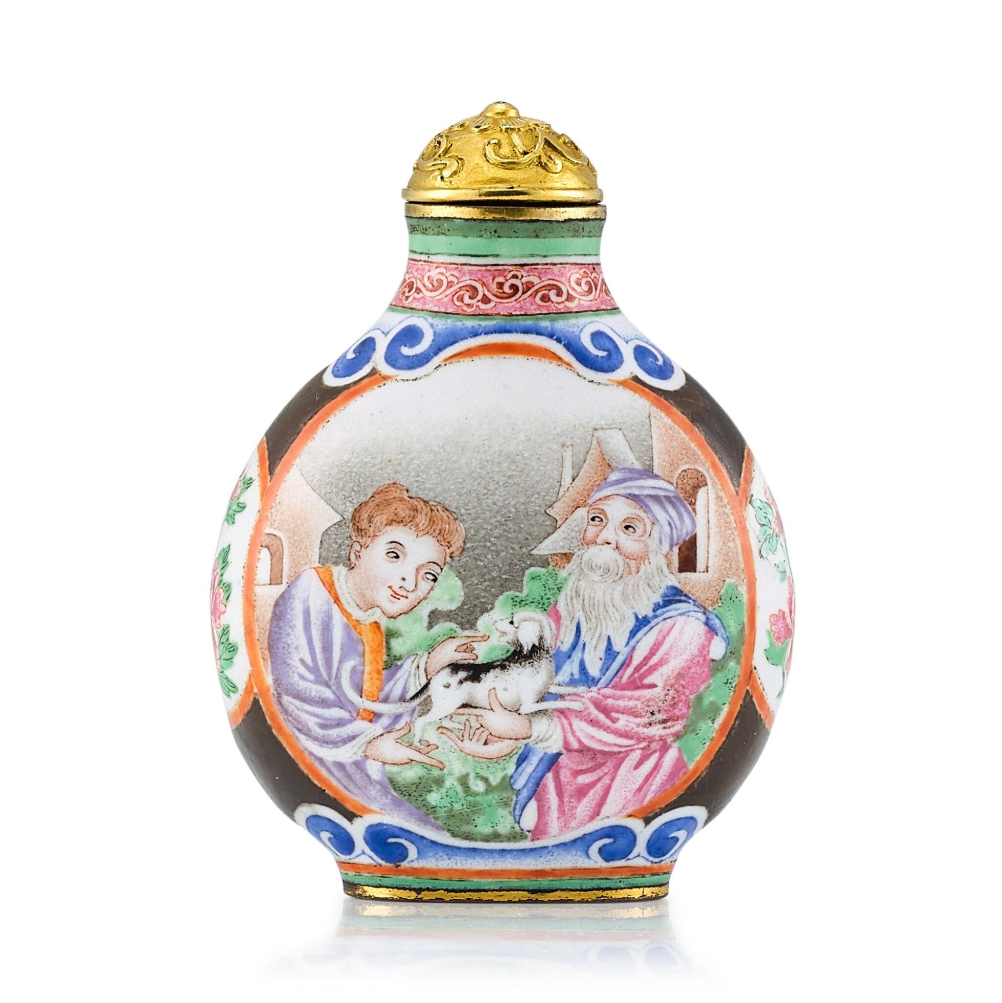 View full screen - View 1 of Lot 3003. A Canton Enamel 'European Subject' Snuff Bottle Mark and Period of Qianlong | 清乾隆 銅胎廣東畫琺瑯西洋人物圖鼻煙壺 《乾隆年製》款.