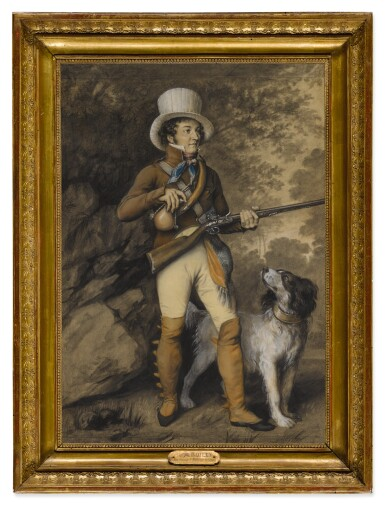View 3. Thumbnail of Lot 108. JULIEN-LÉOPOLD BOILLY, CALLED JULES BOILLY  |  PORTRAIT OF A HUNTER AND HIS DOG, TRADITIONALLY IDENTIFIED AS THE ARTIST LOUIS BOILLY, IN HUNTING COSTUME.