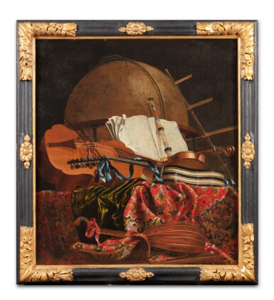 View 2. Thumbnail of Lot 155. Still life with a globe and musical instruments.