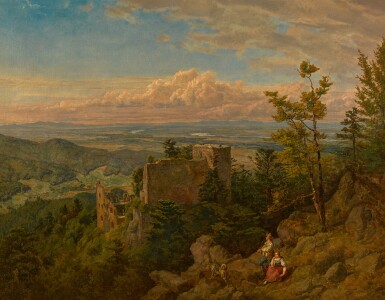 View 1. Thumbnail of Lot 92. The ruins of the castle at Hohenbaden: looking out over the Rhine valley, Baden Baden (Die Burgruine Hohenbaden).