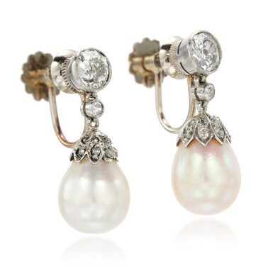 View 2. Thumbnail of Lot 27. Pair of natural pearl and diamond earrings, early 20th century composite.