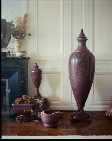 View 4. Thumbnail of Lot 137. An Italian carved porphyry urn, 19th century.