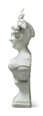 A STAFFORDSHIRE WHITE PEARLWARE PORTRAIT BUST OF CAROLINE OF BRUNSWICK, QUEEN CONSORT OF THE UNITED KINGDOM, CIRCA 1820
