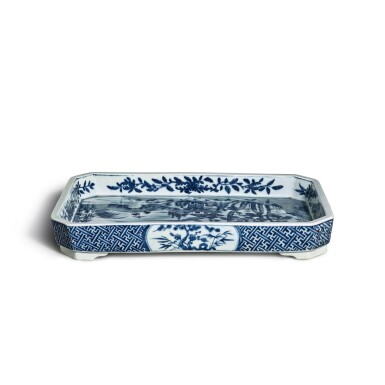 View 3. Thumbnail of Lot 80. A blue and white 'landscape' tray, Mark and period of Jiaqing | 清嘉慶 青花山水圖詩文長方倭角托盤 《大清嘉慶年製》款.