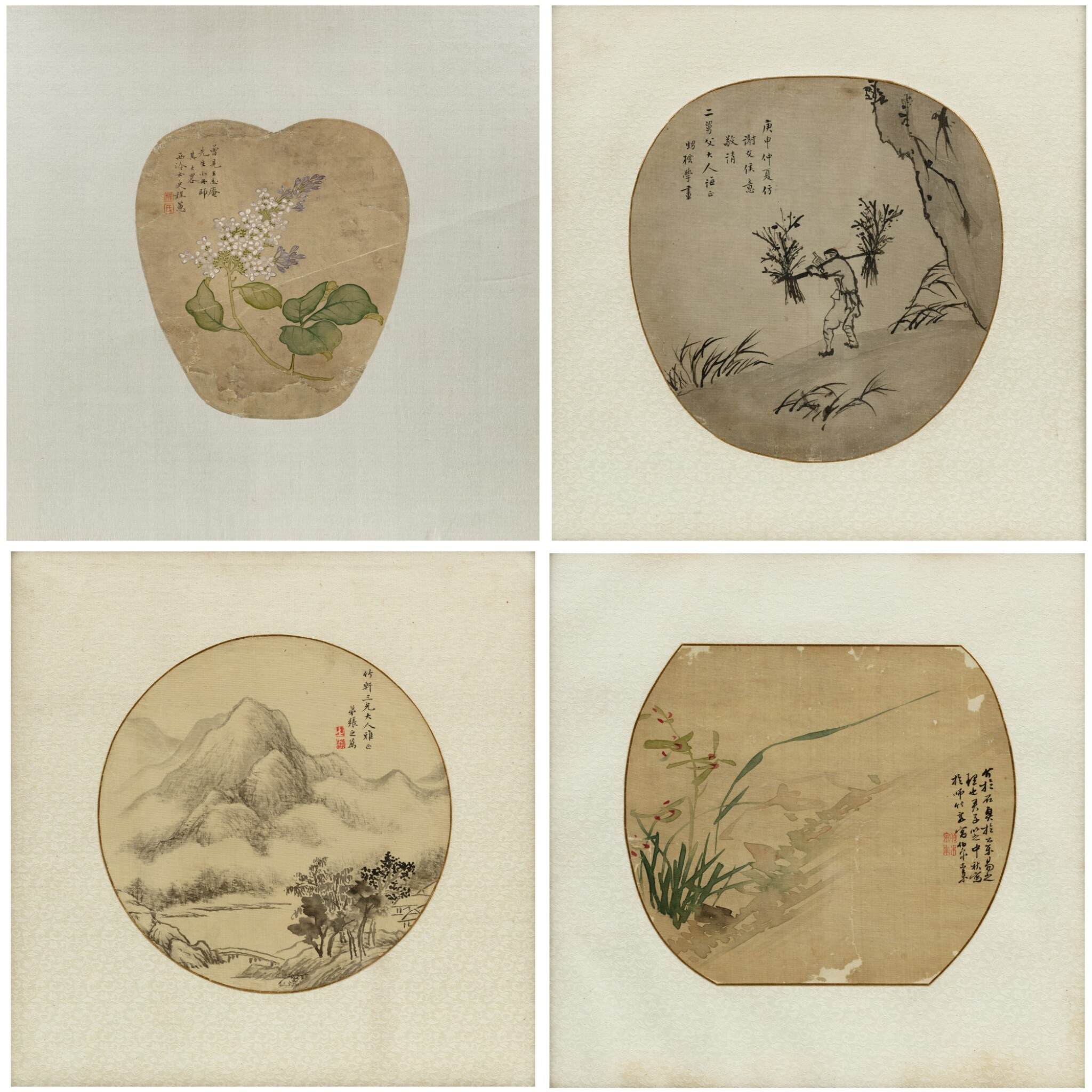View 1 of Lot 120. Artistes variés Ensemble de quatre peintures | 團扇面 一組四幀 | Various artists  Set of Four Paintings, ink and colour on silk, of which three framed and under glass.