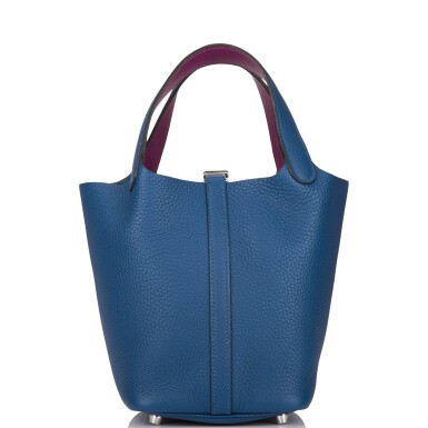 View 4. Thumbnail of Lot 8. Hermès Deep Blue and Anemone Picotin Lock 18cm of Clemence Leather with Palladium Hardware.
