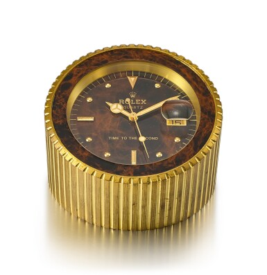 ROLEX | REFERENCE 455, A HEAVY GILT BRASS DISPLAY DESK CLOCK WITH STOP FEATURE AND DATE, CIRCA 1985